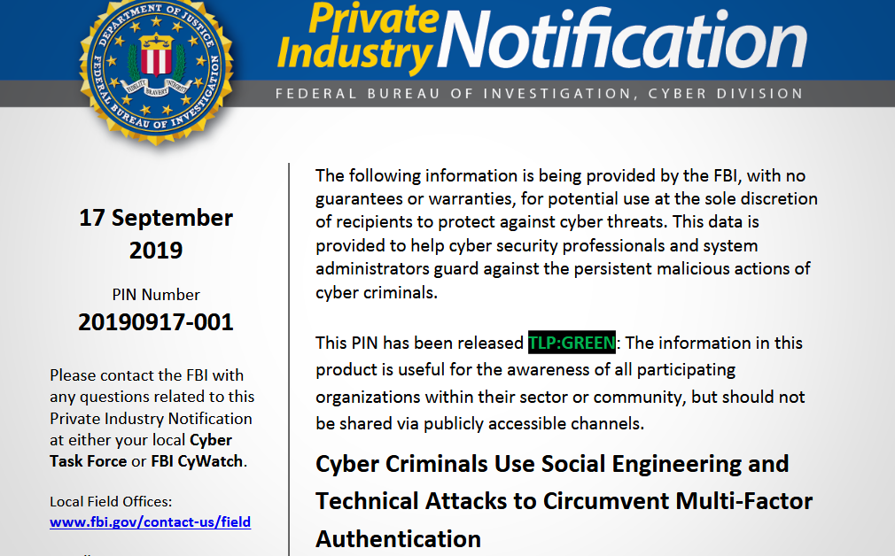 FBI warns about attacks that bypass multi-factor authentication (MFA)